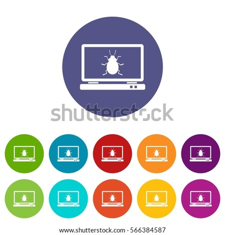 laptop set icons in different