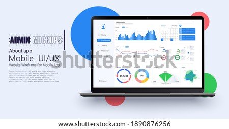 Laptop showing charts and graph, analysis business accounting, statistics concept. Digital marketing, business analysis. Data growth diagram. Business website modern ui, ux, kit, admin. Vector