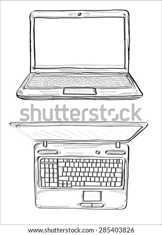 Laptop sketch- hands sketch vector illustration