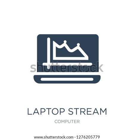 laptop stream graphic icon vector on white background, laptop stream graphic trendy filled icons from Computer collection, laptop stream graphic vector illustration