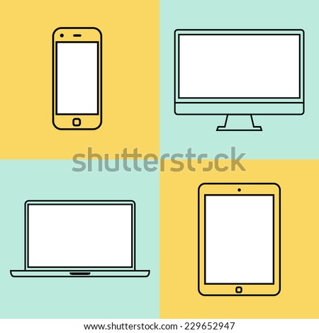 Laptop tablet computer monitor and smartphone flat design template elements for web and mobile applications Stroke thin line flat minimalistic style Vector illustration eps10