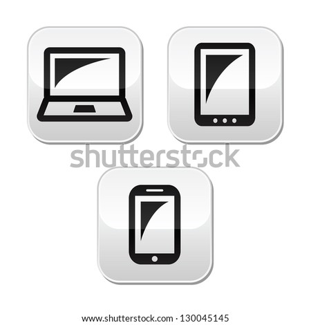 Laptop, tablet, smarthone vecor buttons set