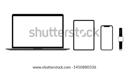 Laptop tablet smartphone and smart watch a set of empty monitors in black. New devices. Vector illustration EPS 10
