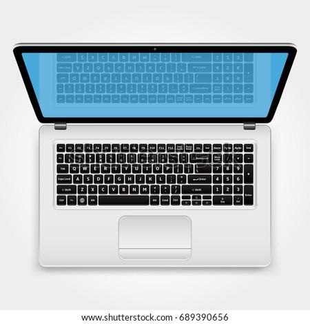 Laptop, Top View. Vector Illustration