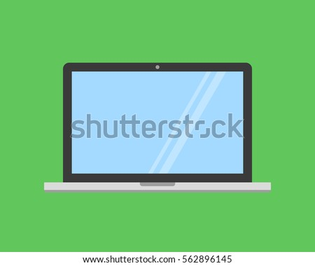 laptop vector flat icon on colored background