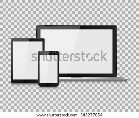 laptop vector illustration modern phone and tablet on isolate background, vector illustration EPS10
