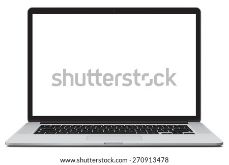 Laptop vector illustration with blank screen isolated on white background, white aluminium body.