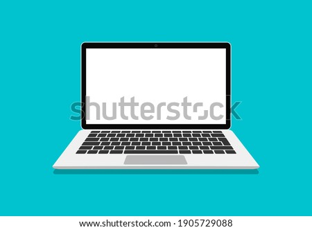 Laptop vector in flat style. Computer with empty screen, blank copy space on computer. Laptop front view. Computer layout in flat style, device screen layout. Vector illustration.