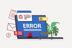 Laptop virus alert. System error warning on a laptop. Emergency alert. Scanning for malware, virus, scam, or bug with a magnifying glass. Antivirus concept. Illustration of internet virus malware