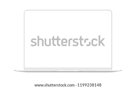 Laptop white mock up with blank frameless screen - front view. Vector illustration