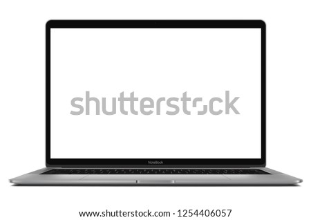 Laptop with blank screen - high detailed eps 10 vector