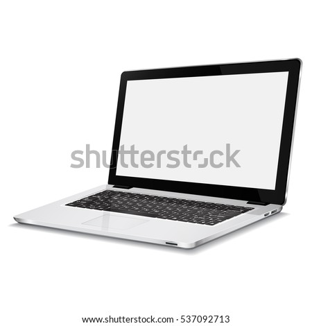 Laptop with blank screen isolated on white background.  Realistic open laptop with white aluminium body. Modern glossy laptop. Vector illustration.