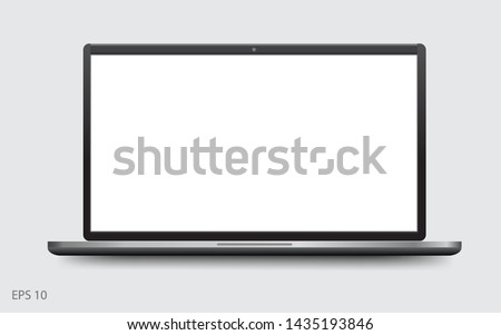 laptop with blank screen, Mock up notebook. Isolated vector illustration