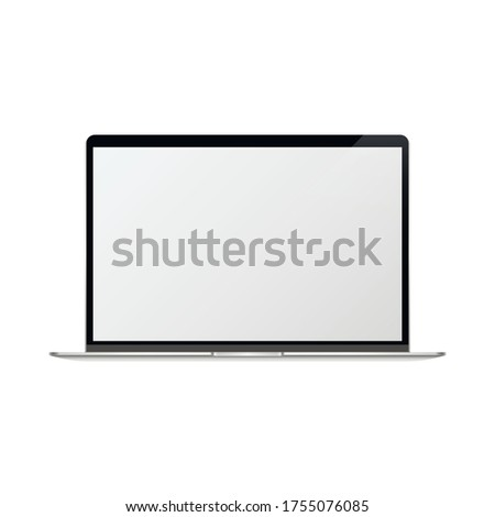 Laptop with blank screen silver color isolated on white background. iMac - monoblock series of personal computers, created by Apple Inc.