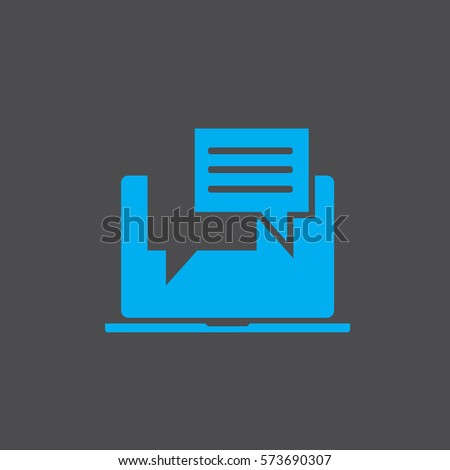 Laptop with browser and envelope vector illustration, symbol of email receiving, service, notification, electronic mail, new message, flat cartoon design isolated on blue