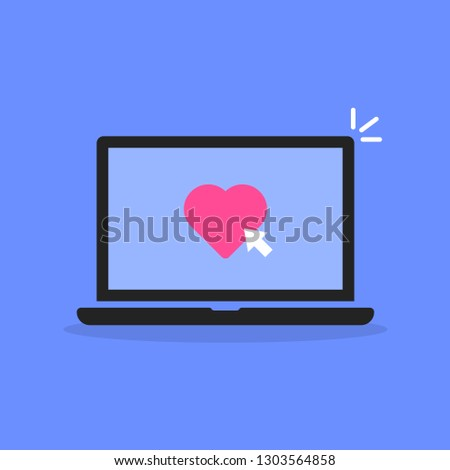 laptop with click on like