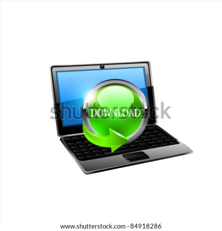 Laptop with download button. Vector - stock vector