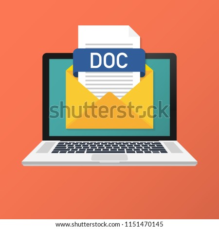Laptop with envelope and DOC file. Notebook and email with file attachment DOC document. Vector stock illustration.