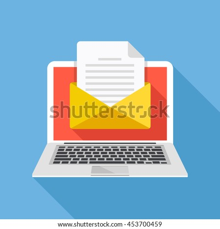 laptop with envelope and