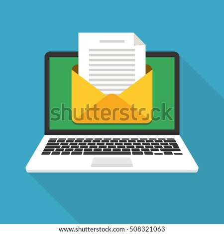 Laptop with envelope and document on screen. E-mail, email marketing, internet advertising concepts. Flat vector illustration.