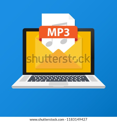 Laptop with envelope and MP3 file. Notebook and email with file attachment MP3 document. Vector stock illustration.