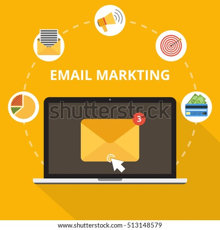 Laptop with envelope and open email on screen. Email marketing, internet advertising concepts. Flat vector illustration.