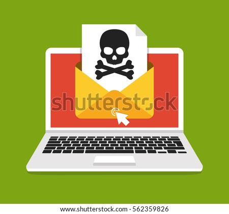 laptop with envelope and skull