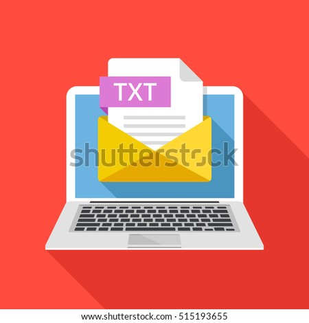 Laptop with envelope and TXT file extension. Notebook, email, file attachment text document. Graphic elements for websites, web banners, mobile app. Modern long shadow flat design. Vector illustration