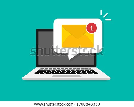 Laptop with envelope on screen. New email on the laptop screen. Email notification concept. Message reminder. Receive notification, alert message, warning, get e-mail, spam concepts. Vector.
