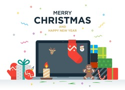 Laptop with gifts, candles, red ball and Christmas socks on the screen. Christmas postcard with greeting text