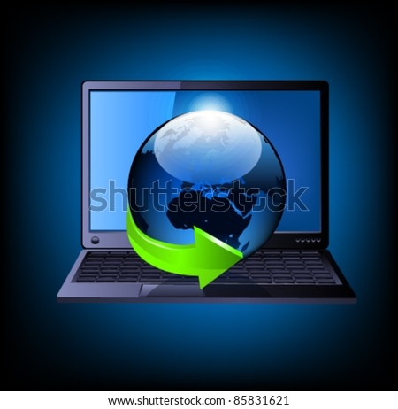 Laptop with globe and green arrow. Vector - stock vector