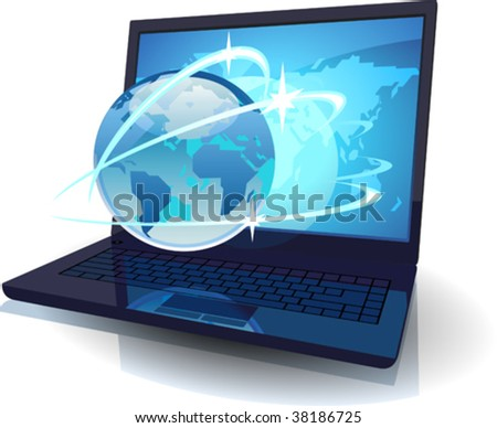 Laptop with Globe and map of the World and orbits. Vector illustration concept for tele-communications.