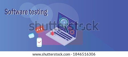 Laptop with magnifier and bugs. Testing illustration. Software testing inscription. Automatic and manual testing