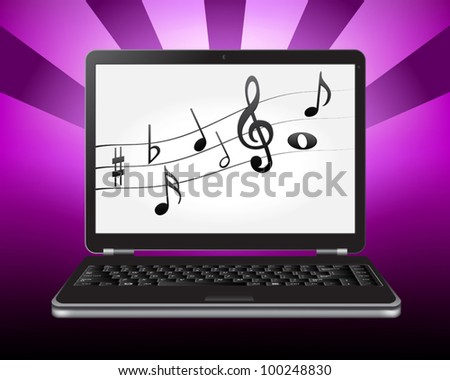laptop with notes on the screen - stock vector