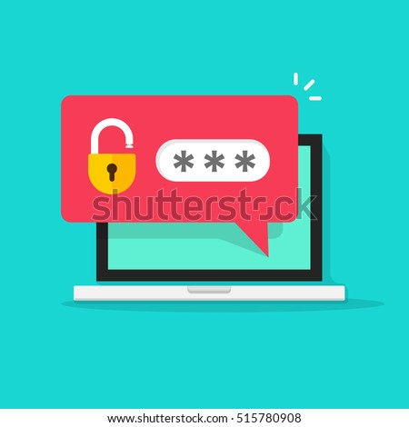 Laptop with password notification and lock icon vector illustration isolated on white, concept of security, personal access, user authorization, login form icon, internet protection