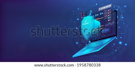Laptop with shield, Cyber Security concept. 3D laptop and cloud data under the protection. Cybersecurity, antivirus, encryption, data protection. Software development. Safety internet technology