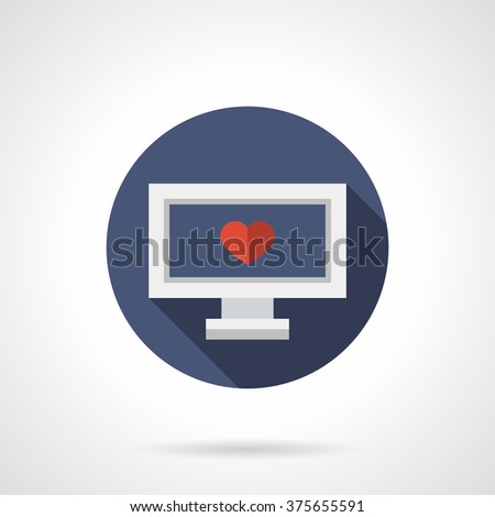 Laptop with single red heart on display. Blind date. Distance relationship. Blue round vector icon, long shadow. Element for web design, business, mobile app.