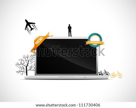 Laptop with some vector elements