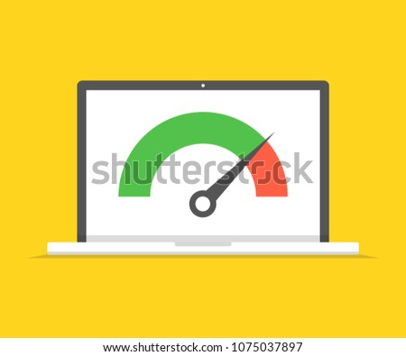 Laptop with speed test on the screen. Vector illustration.