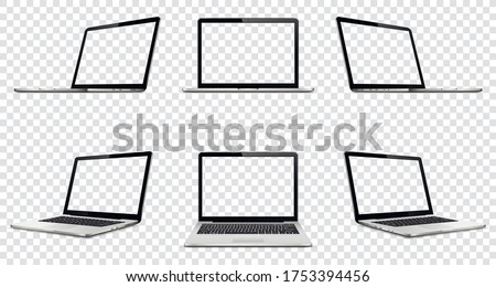Laptop with transparent screen on transparent background. Perspective, top and front laptop view with transparent screen.