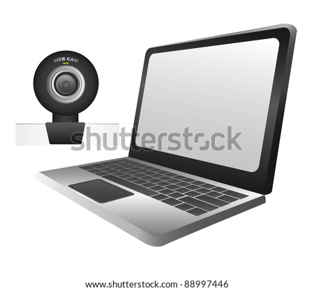 laptop with web cam isolated over white background. vector - stock vector