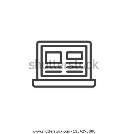 Laptop with web page on screen outline icon. linear style sign for mobile concept and web design. Online news simple line vector icon. Symbol, logo illustration. Pixel perfect vector graphics
