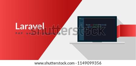 Laravel PHP Framework programming language with script code on laptop screen, programming language code illustration