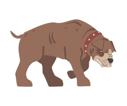 Large Aggressive Brown Dog in Leather Collar Vector Illustration