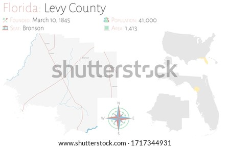 Large and detailed map of Levy county in Florida, USA.