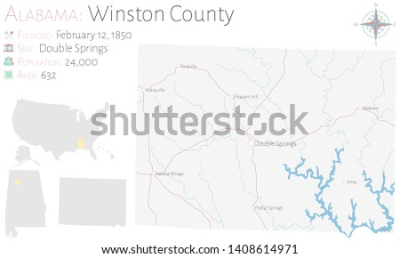 Large and detailed map of Winston county in Alabama, USA.