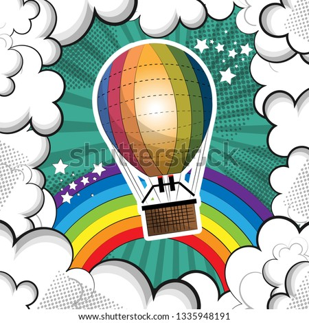 large balloon with a basket for