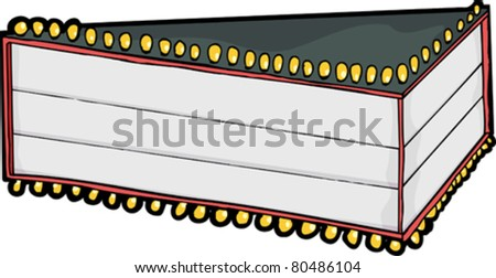 Large blank movie theater marquee for 3 rows of text