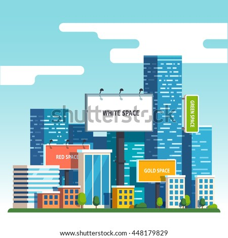 Large blank urban billboards with copy space text standing high over large city street skyscrapers buildings. Flat style vector illustration template.