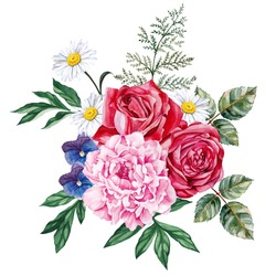 Large bouquet of peony, roses, violets and chamomile. Garden flowers. Hand-painted, watercolor vector illustration.